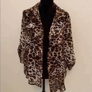 AMBIANCE Sheer Leopard Button Down Top